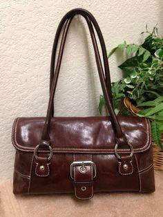 53bce8a97f40 Giani Bernini Brown Glazed Leather Satchel Shoulder Handbag Bag Purse VGC   GianiBernini  ShoulderBag
