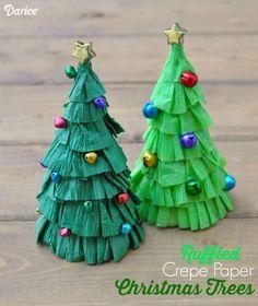 Christmas Tree Craft Tutorial – Ruffled Crepe Paper – Darice - New Deko Sites Diy Christmas Paper Decorations, Paper Christmas Ornaments, Christmas Paper Crafts, Mini Christmas Tree, Kids Christmas, Holiday Crafts, 242, Paper Tree, Theme Noel