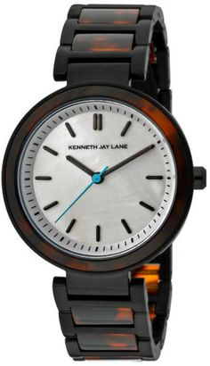 Kenneth Jay Lane White Womens White Mop Dial Black Ip Stainless Steel and Tortoise Resin Kjlane Watch