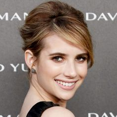 Love this french twist on Emma Roberts