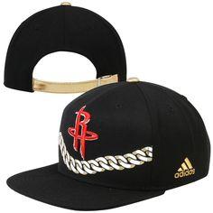 buy popular b011f e37ef adidas Houston Rockets Gold Chain Strapback Hat - Black