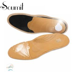 Soumit Full Length Leather Orthopedic Insole with Arch Supports Arch Pads Flat Feet Insoles Footbeds for Reducing Flat Foot Pain