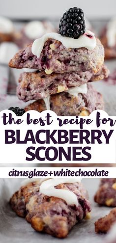 great coffee This is the easiest recipe for a soft, buttery blackberry scone! With a citrus glaze and full of withe chocolate, these scones are what you're looking for your breakfast. Blackberry Recipes Easy, Blackberry Scones, Fruit Recipes, Sweet Recipes, Baking Recipes, Blackberry Recipes Breakfast, Black Berry Recipes, Just Desserts, Delicious Desserts