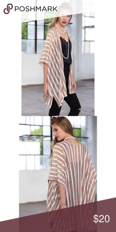 Boho Mocha Stripe Kimono One Size So pretty as a swim coverup or as part of an outfit!  Mocha stripe kimono, 100% Polyester.  Available in one size fits most!  No Trades, Price Firm unless Bundled.  BUNDLE 3 OR MORE ITEMS FOR 15 % OFF. Boutique Accessories Scarves & Wraps