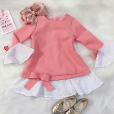 Stylish Baby Girls, Cute Baby Girl Outfits, Dresses Kids Girl, Kids Outfits Girls, Toddler Outfits, Little Girl Closet, Baby Frocks Designs, Kids Coats, Baby Dress