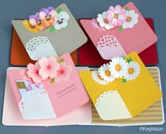 ポップアップカード(pop up card) by Kagisippoの画像 Paper Flowers Craft, Paper Crafts Origami, Paper Crafts For Kids, Origami Flowers, Pop Up Flower Cards, Pop Up Box Cards, Pop Up Karten, Exploding Box Card, Handmade Birthday Cards