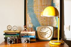 Yellow lamp, map, clocks, good things!