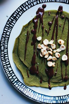 matcha crepes with chocolate ganache and toasted hazelnuts