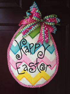 Large Easter Egg Burlap Door Hanger with by BeccasFrontDoorDecor, $38.00