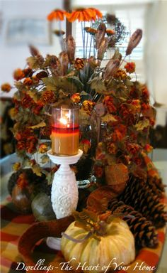 Fall Tablescape Arrangement...perfect for the Thanksgiving table.