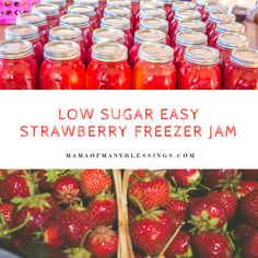 This is our tried and true super easy to make recipe for low sugar strawberry freezer jam. It is the most amazingly delicious strawberry jam, but with the sugar of regular strawberry freezer jam recipes. Take a look into our 35 quarts that we made to Freezer Jam Recipes, Canning Recipes, Freezer Meals, Lunch Recipes, Pasta Recipes, Crockpot Recipes, Breakfast Recipes, Cheap Meals, Easy Meals