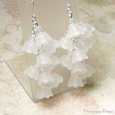 Lily of the Valley White Floral Cluster Crystal Earrings ($26) ❤ liked on Polyvore