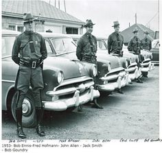 Trooper Ennis, Hofmann, Allen, Smith and Goundry going out on patrol 1953 Police Uniforms, Police Officer, Emergency Vehicles, Police Vehicles, Old Police Cars, Hot Cops, Police Life, State Police, Cartoon Network Adventure Time