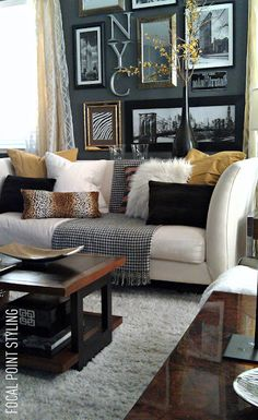 Gray + Yellow + Gold, nice collection on the wall with lettering. Don't like too many scatter cushions on my couch though.
