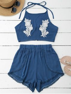 Lace Floral Halter Crop Top and Shorts - BLUE S