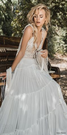 inbal raviv 2017 bridal sleeveless thin strap deep plunging sweetheart neckline heavily embellished bodice bohemian soft a line wedding dress (alma) mv -- Inbal Raviv 2017 Wedding Dresses