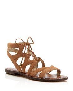 Sam Edelman Gemma Lace Up Flat Sandals   Bloomingdale's SIZE 8.5 in GOLDEN CARAMEL