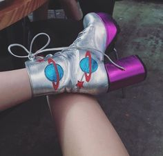 Space shoes, metallic boots. Love them