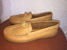 NWOB Minnetonka MEN'S Tan Leather SHOES MOCCASINS loafers size 16  | eBay