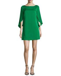 Butterfly-Sleeve Stretch-Silk Dress, Emerald (Green), Size: 14 - Milly