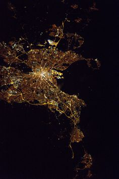 """Dublin at Night Expedition 50 Commander Shane Kimbrough of NASA shared this nighttime image of Dublin on March 17 2017 writing """"Happy #StPatricksDay Spectacular #Dublin Ireland captured by @thom_astro from @Space_Station. Enjoy the #StPatricksFest Parade down there!"""""""