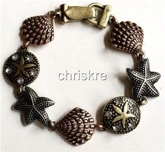 Copper Gold Plated Sea Life Charm Bracelet Starfish Shells Sand Dollar Beach USA #Unbranded #Traditional