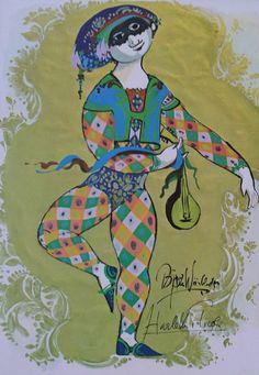 1970s Wiinblad's Harlequin in Tivoli  Original by OutofCopenhagen