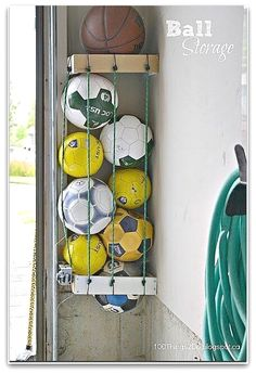 6 amazing ideas for sports equipment storage. Tired of tripping over scooters and balls? These storage ideas will keep your space organized. #diystorage Organizing Hacks, Home Organization Hacks, Storage Hacks, Garage Organization, Storage Ideas, Diy Hacks, Cleaning Hacks, Organizing Solutions, Garage Storage Solutions
