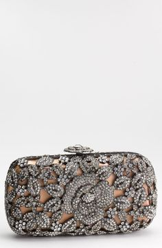 Rhinestone floral pattern clutch, so pretty!