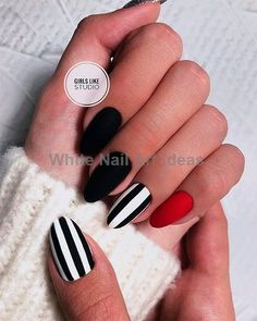 Most Beautiful Black Winter Nails Ideas Cute black and white nails with an accent red nail! Cute black and white nails with an accent red nail! Black Nail Art, Black White Nails, Black And White Nail Designs, Black Manicure, Black Stripes, Cute Black Nails, Red And Silver Nails, Black Art, Stylish Nails