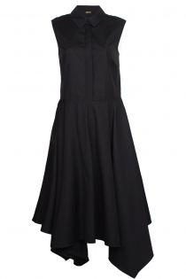 ADAM LIPPES | Adam Lippes Black Colllared Shirt Dress with Scarf Hem | LAPRENDO.COM