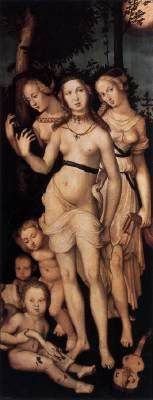 The Three Graces - Hans Baldung Grien.  c.1540-44.  Oil on panel.  151 x 61 cm.  Museo del Prado, Madrid, Spain.