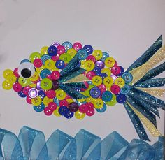 Button Art Fish Picture w/3D Water Detail by KsquaredK on Etsy, $20.00