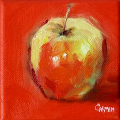 Just a Little Apple, 4x4 Oil on Canvas, painting by artist Carmen Beecher