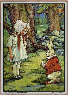 Alice in Wonderland--Old Inkblot with White Rabbit