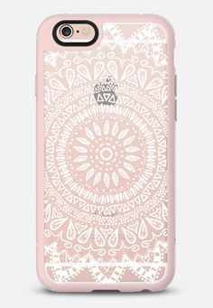 Bohemian flower mandala in white - crystal clear phone case