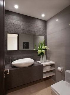 Bathroom Design, White Contemporary Powder Room Sinks With Unique Shape Design And Modern Faucet And Modern Bathroom Vanity Design And White Wonderful Vase With Beauty Flowers On It Also Minimalist Wall Design And Toilet: Powder Room Decorating Ideas at Y Bathroom Vanity Designs, Modern Bathroom Design, Modern House Design, Bathroom Interior, Bathroom Ideas, Bathroom Sinks, Bathroom Remodeling, Master Bathroom, Remodeling Ideas