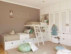 Shared bedroom for kids. Gender neutral colors and efficient use of space. I like the unusual bunk beds.