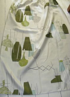 Vintage 50s Pair Curtains. Abstract Still Life Motifs on White. Can Make 4 ... | eBay