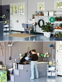 I love a man's organized garage... just like i keep my home. AND a dog grooming area..... i've died and gone to heaven.