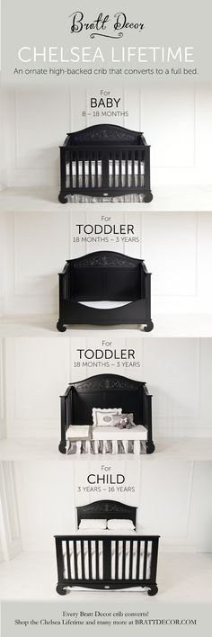 If you're going to invest in a gorgeous, high-quality crib, it should grow with your child! They'll be sleeping in the Chelsea Lifestime Crib from Bratt Decor, Inc. for a longggg time! Baby Bedroom, Baby Room Decor, Room Baby, Baby Crib Bedding, Baby Rooms, Kids Rooms, Baby Furniture, Black Nursery Furniture, Children Furniture