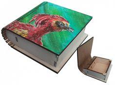Harry Potter Hogwarts Phoenix Fawkes Hand Painted Wooden Box Jewelry box Wizard World Magic Keepsake Box Art Rowling JaN:)Art Custom Size :: JaN:) Art