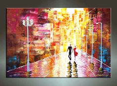 Original Contemporary Palette Knife Fine Art Painting Abstract Textured On Gallery Wrapped Canvas 36X24