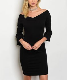 Loving this Black Off-Shoulder Dress on #zulily! #zulilyfinds
