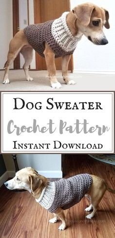What a cute dog sweater!! I love that I can make it at home from the crochet pattern. #crochetpattern #dogsweater #affiliate #handmade #petsupplies