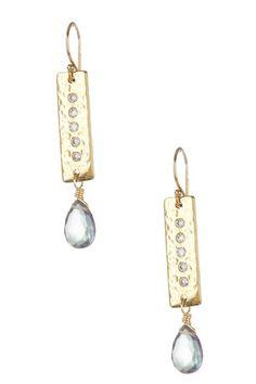 Mystic Topaz Cubic Zirconia Bar Drop Earrings by Vivian Tamayo on @HauteLook
