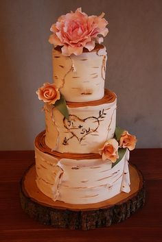 Birch Tree wedding cake with a pink peony and pale orange tulips! The initials are for me and my husband!
