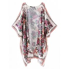 Choies Multicolor Floral Split Asymmetric Open Front Kimono ($28) ❤ liked on Polyvore featuring multi