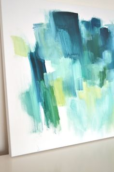 Original Abstract Oil Painting 24x36 Blue, Green, Yellow