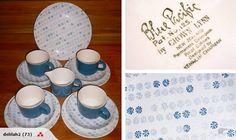 BLUE PACIFIC 4x trios, milk jug & plate  - great set